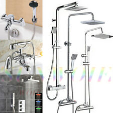 Bathroom Thermostatic Valve Shower Unit Mixer Exposed Chrome Bath Twin Head Set