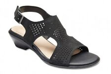 NEW Easy Steps Carrie Black Nubuck Leather Sandals Women Shoes Wide Fit C-Fit