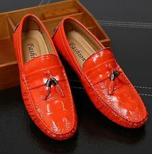Mens Casual Slip on Loafers Faux patent leather Flat Driving Moccasins Shoes #
