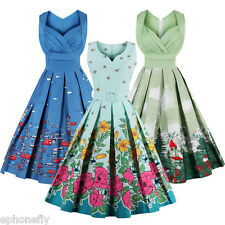 Retro Vintage Pleated Casual 1950s Summer Rockabilly Cocktail Party Swing Dress