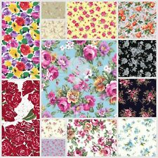 Roses Spring Floral Fabric 100% Cotton Material Craft Fat Quarter Bundle Metre