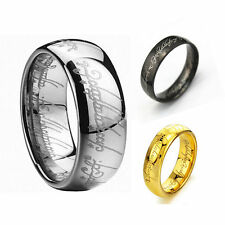 Size 6-13 Stainless Steel Black IP Lord of the Ring, The One Ring LOTR Band Ring