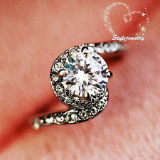 White Gold Plated Made with Swarovski Crystal Twist Band Engagement Ring R48