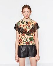 -% ZARA Floral Print Short Top with Lace Frill Detail MUST HAVE XS*UK 6/8