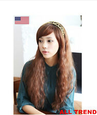 New Fashion Women Lady Cosplay Wavy Long Hair Curly Party Synthetic Full Wigs