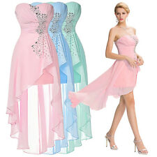 Lady Chiffon Maxi High Low Ruffles Dress Strapless Bridemaid Party Cocktail Gown