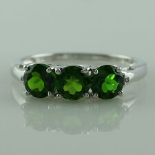 Chrome Diopside,White Topaz 925 Sterling Silver Three Stone 1.72 ctw Ring GSR916