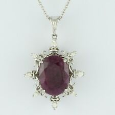 Solid Gold Ruby GF,Natural Zircon Gemstone Fancy 13.01 ctw Pendant GSP452