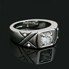 18k White Gold Plated Made with Swarovski Crystal Silver Men's Wedding Ring R156