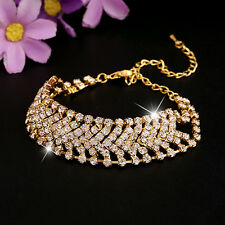 Women Multilayer Rhinestone Alloy Party Wedding Wrap Cuff Bangle Bracelet Clever