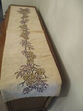 """VINTAGE EMBROIDERED TABLE CLOTH / RUNNER SIDEBOARD BUFFET DRESSER 16"""" X 63"""""""