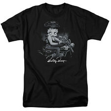 Betty Boop STORM RIDER Wearing Leather on Motorcycle Adult T-Shirt All Sizes