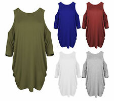 Womens Ladies Cut Out Cold Shoulder Batwing Long Top Tunic Loose Baggy Oversize