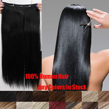 "Full Head Set Hair Extension One Piece Clip In Human Hair Extensions 20""100g"