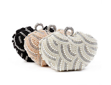 Womens Luxury Special Crystals Beaded Pearl Clutch Bag Cute dinner Evening bag