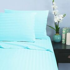 1200 Thread Count Egyptian Cotton 3 PC's Duvet Set Aqua Blue Stripe
