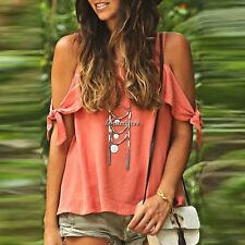 New Fashion Women Casual Off Shoulder Bandage Short Sleeve Loose Top BF901