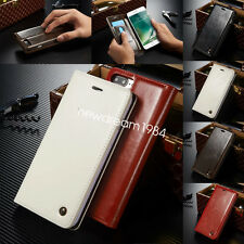 Luxury Flip Genuine Real Leather Wallet Stand Case Cover For Smart Cell Phone