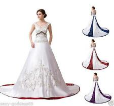 Satin Embroidery Halter Wedding Dress Bridal Gown  Size 6 8 10 12 14 16 18