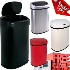 Stainless Steel Trash Can 13 Gallon Kitchen Garbage Commercial Touch Free Sensor