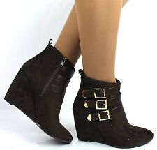 Womens Dark Brown Faux Suede Pointed Toe Wedge Heel  Buckle Strap Ankle Boots