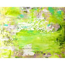 Framed Canvas Fine Art Print Abstract Painting Texture Lime