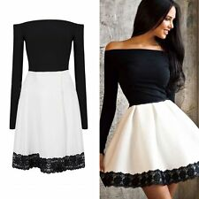 Lady Women Lace Casual Long Sleeve Cocktail Evening Party Dress Short Mini Dress