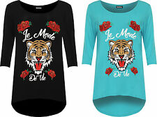Plus Womens Dipped Hem T-Shirt Top Ladies Floral Tiger Print Scoop Neck New