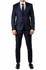 Luciano Barbera Men's Two Button Wool Suit Navy Blue