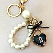 Heart Lock with Double Star Charms & White Pearl Key Chain / Purse Charm