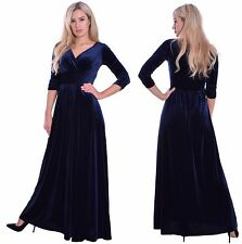 Long Elegant Evening Dress Empire Style 3/4 Sleeves Wedding Party Midnight Blue