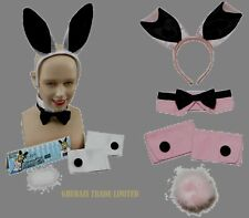 BUNNY GIRL RABBIT WHITE AND PINK EARS HEN PARTY SET FANCY DRESS ACCESSORY