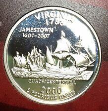 2000-S Virginia Silver DC (Proof) 50 States Quarter - Beautiful 90% Silver Coin!