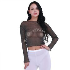 Sexy Women Clubwear Long Sleeves Slim Fit See Through Mesh Blouse Crop Top Shirt