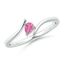 Pear Shape Natural Pink Sapphire Solitaire Ring 14k White Gold / Silver Platinum