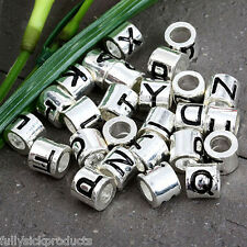 Silver Plated 5mm Hole Carved Alphabet Letter European Bead Fit Charm Bracelet