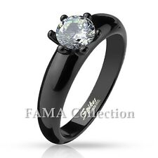 Stylish FAMA Classic Claw Set CZ Black Stainless Steel Engagement Ring Size 5-9