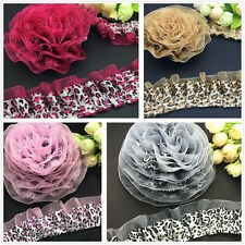 New 1/3/5 Yards 2-Layer 40mm Leopard Lace garment Gathered Pleated Trim 4 colors