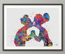 Fry and Leela Kiss Love Watercolor Print Wall Art Poster Geekery Home Decor Art