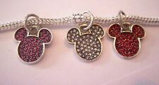 Authentic .925 silver - Dangle Mickey Mouse Charm Sparkling Pave Clear Pink Red
