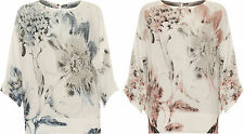Plus Womens Chiffon Sheer Top Ladies Batwing Long Sleeve Floral Print New 8-14