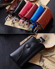 Genuine Cowhide Leather Men Women Car Key Holder Key Chain Wallet Case Key Bag