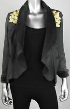 Biya by Johnny Was V2072 Faux Suede/Fur Smoke Grey Crop Jacket SZ Small NWT