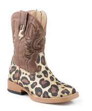 Roper Infant Girls Sq Toe   Brown Glitter Leopard Faux Leather Cowboy