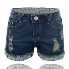 Women Classic Roll Up  Denim  Plus Size Ripped Shorts Jeans