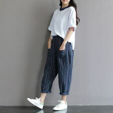Women Classic Striped Patchwork Casual Linen Loose Long Pant