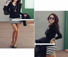 Women Casual Long Sleeve Crew Neck Striped Slim Fit Knee-Length Party Dress