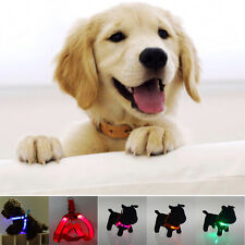 LED Flashing Light Dog Harness Safety Pet Puppy Harness Collar Lead Leash NT