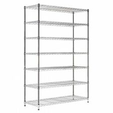 7 Shelf Chrome Wire Shelving Unit New 1800mm Tall Racking Heavy Duty Storage