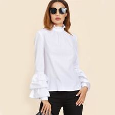 Women Fashion White Color Ruffle Collar High Neck Long Sleeve Layered Sleeve Top